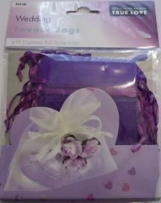 10 x Purple Wedding Favour Organza Bags. 100mm x 75mm.